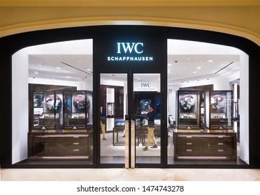 MACAU - SEPTEMBER 15, 2017: IWC Schaffhausen store at Studio City hotel and casino resort. IWC International Watch Co. AG is a luxury Swiss watch manufacturer located in Schaffhausen, Switzerland.