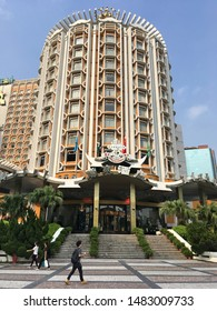 MACAU - SEPTEMBER 16, 2017: The exterior of the Grand Lisboa hotel which casino is the most distinctive part of Macau's skyline.