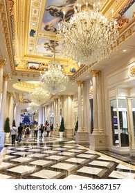 MACAU - SEPTEMBER 16, 2017: The interior of Parisian, a casino and hotel resort. Macaus gaming revenue has been the worlds largest since 2006 with the economy heavily dependent on gaming and tourism.