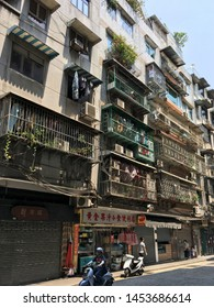 MACAU - SEPTEMBER 16, 2017: A residential house downtown Macau. It is a major resort city and the top destination for gambling tourism.