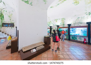 MACAU - SEPTEMBER 16, 2017: Unidentified people at the Monte Fortress Gallery. Fortaleza do Monte is a fort in Santo Antonio. It is the historical military centre of Macau.