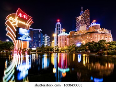 Macau- September 17, 2019: Night view of Macau (Macao). The Grand Lisboa is the tallest building in Macau (Macao) and the most distinctive part of its skyline