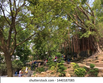 MACAU - SEPTEMBER 2017: Unidentified people walk in the park of Monte Fort. Fortaleza do Monte is a fort in Santo Antonio. It is the historical military centre of Macau.