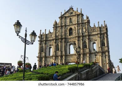 Macau,'17.10.23.:Many people are taking photo with Ruins of St. Paul's where is world heritage on the October  23, 2017 in Macau,Macau