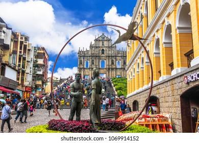 MACAU-APRIL 16 2018:Senado Square Ruins of St. Paul's. Popular tourist attraction in Macao, China.