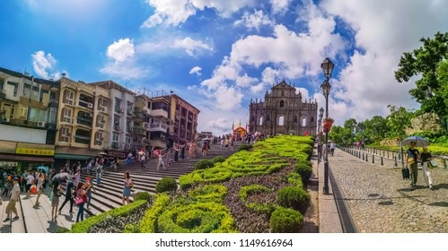 MACAU-AUGUST 8 2018:Panorama Senado Square Ruins of St. Paul's. Popular tourist attraction in Macao, China.