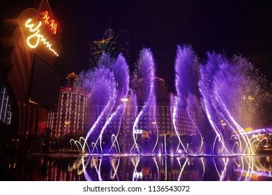 MACAU,CHINA -6 DEC 2016: Fountain dance show at Wynn Hotel,Macau