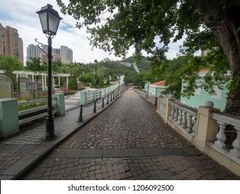 Macau/China - August 15 2018: Av. de Carlos da Maia street in Taipa district, Macau. Macau is an autonomous territory on the western side of the Pearl River estuary in East Asia.