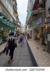 Macau/China - August 15 2018: Patio da Cabaia street in the UNESCO Historic Centre of Macau World Heritage Site.