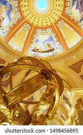 MACAU,CHINA - AUGUST 15 2019: Capturing the famous landmark of the main hall at the entrance of The Venetian Macao Resort Hotel, people visiting the casino.