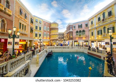 MACAU,CHINA - Cotai Strip, Macau, China - MARCH, 2018 : The Venetian Hotel, Macao - The famous shopping mall, luxury hotel and the largest casino in the world
