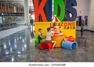 Macau,China - May 5,2018 : The interior of Macau international airport with kid zone at departture terminal in Macau,China.