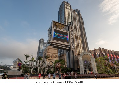 Macau,China - May 5,2018 : View of Macau Studio City , hotel and casino resort in Cotai, Macau, China.