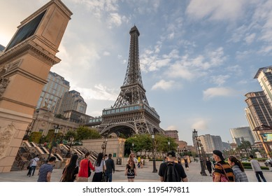 Macau,China - May 5,2018 : View of scenic Macau Eiffel tower, symbol of the Parisian, a luxury resort hotel casino in Cotai ,Macau.