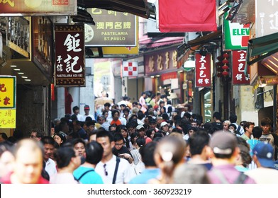 MACAU,CHINA September 13: Crowd people for tourism in Macau historic area of city in 13 September 2008. chinese tourists are the main resource in Macau tourism industry now