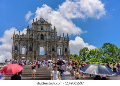 MACAU/China : Tourists visit the Historic Center of Macao on JUL 21, 2018 in Macau, China. The Historic Centre of Macao was inscribed on the UNESCO World Heritage List in 2005.