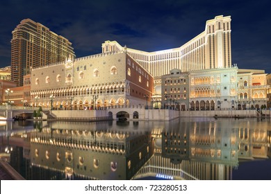 MACAU,CHINA-Feb 19,2017 : Night view of the Venetian Macao-Resort-Hotel ,the famous shopping mall, luxury hotel and the largest casino in the world and it's a major tourist attraction in Macao, China.