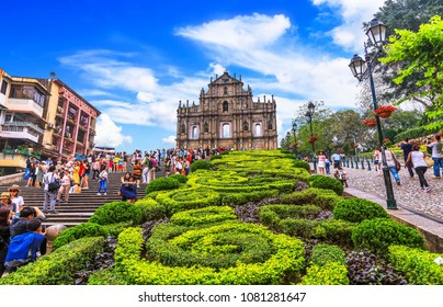 MACAU-MAY 1 2018 :  Ruins of St. Paul's. Popular tourist attraction in Macao, China