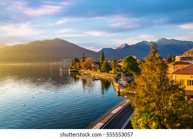Maccagno on lake Maggiore (Verbano) with the old small harbor and with the lake promenade, province of varese, Italy