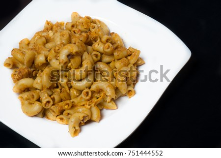 maccaroni on white plate isolated on stock photo edit now