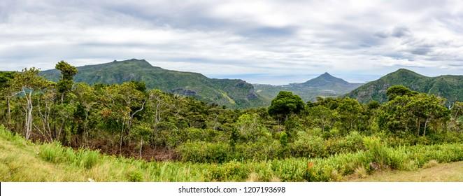 Macchabee Viewpoint, Mauritius island - November 4, 2017: Landscape from the Macchabee Viewpoint in the Black River Gorges National Park on Mauritius island.
