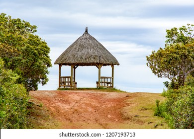 Macchabee Viewpoint, Mauritius island - November 4, 2017: Pergola on Macchabee Viewpoint in the Black River Gorges National Park on Mauritius island.