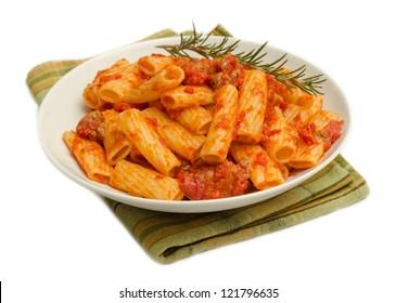 Maccheroni with tomato and sausage sauce