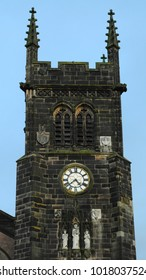 Macclesfield, Cheshire / UK - 01/24/18: Tower of St Michaels & All Angels Anglican church, consecrated in 1278 but rebuilt 1898-1901.