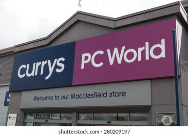 Macclesfield,UK - May 19th 2015: Currys and PC World shopfront with sign and