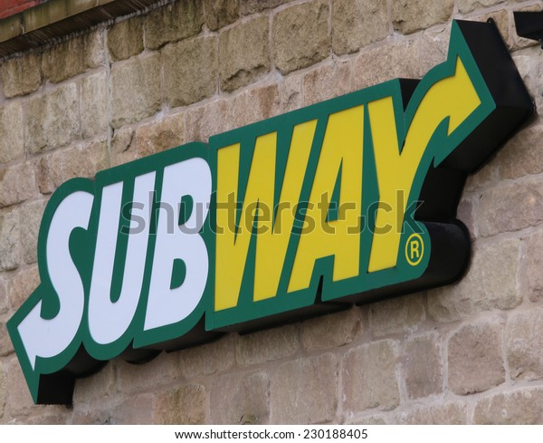 MACCLESFIELD,UK - NOVEMBER 12 2014: Subway sandwich store  sign with logo.  A focus on healthy eating is driving rapid growth.