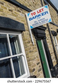 Macclesfield,UK - October 5 2014: Residential to let rental estate agents board on