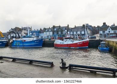 Macduff, Aberdeenshire, Scotland. Circa 2018. Macduff harbour in Aberdeenshire.