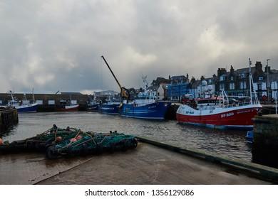 Macduff, Aberdeenshire, Scotland. Circa 2019. Macduff harbour, in Aberdeenshire.