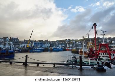 Macduff, Aberdeenshire, Scotland. Circa 2019. Macduff harbour in Aberdeenshire.