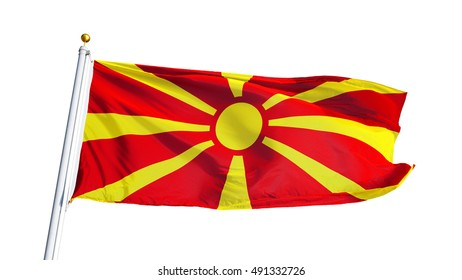 Macedonia flag waving on white background, close up, isolated with clipping path mask alpha channel transparency