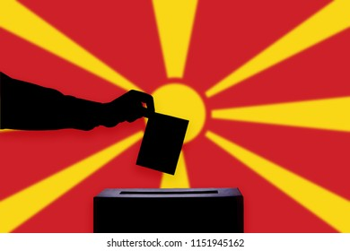 Macedonia -FYROM flag with ballot box