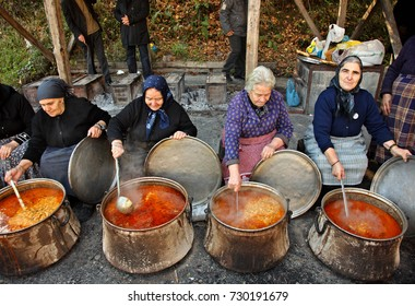 MACEDONIA, GREECE- November 21, 2014. During the local feast for the Presentation of Virgin Mary at the abandoned village of Palaioziaziako, Pieria, Macedonia, Greece