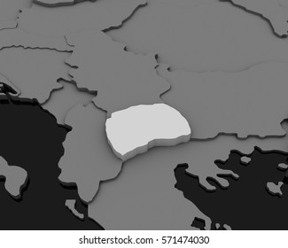 macedonia map gray background 3D illustration