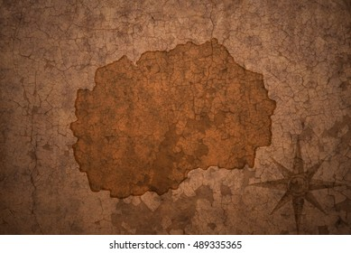 macedonia map on a old vintage crack paper background