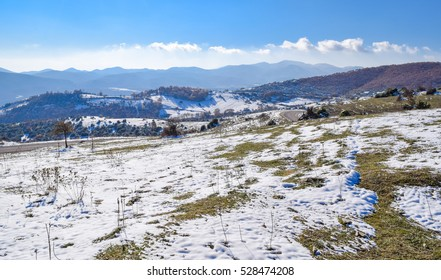 Macedonia nature in winter. Mountains at the eastern part of Macedonia near Strumica town. National park