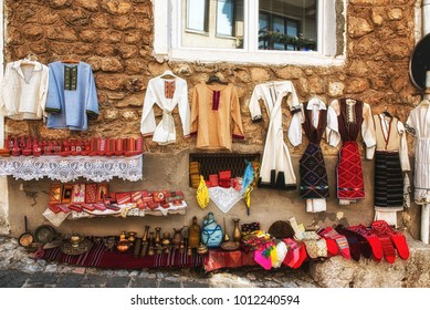 Macedonia. Ohrid - July 23, 2017: Showcase picturesque street shop on the central city on a sunny summer day. The store of Macedonian national clothes.