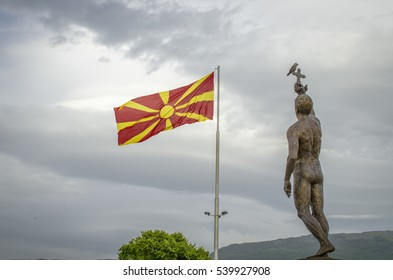 Macedonian Flag with the Monument Epiphany in Ohrid Macedonia