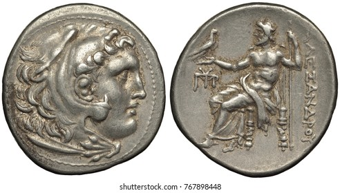 Macedonian Kingdom Asia Minor silver coin tetradrachm 240-180 B.C., head of Alexander the Great in lion skin as Hercules, Zeus on throne holding eagle, Greek legend Alexandra,