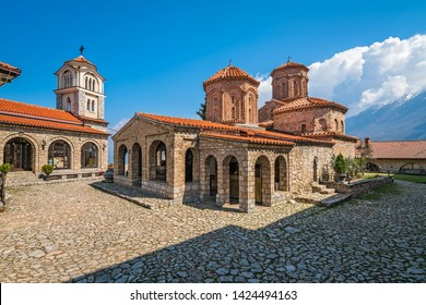 Macedonian landmark, the Holy historic church Sveti Naum on the coast of lake Ohrid