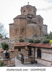 Macedonian landmark - the Jovan Kaneo Church on the shore of Lake Ohrid