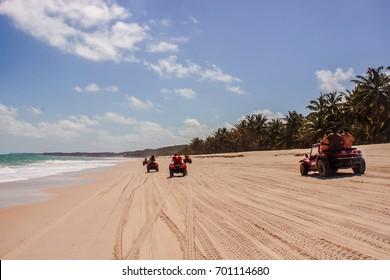 MACEIO, ALAGOAS, BRAZIL - NOV 09, 2013: Beach Sand Quadricycle Buggy Race Car