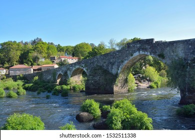 Maceira Bridge in the Way of St. James. Bridge in the path from Santiago de Compostela to Finisterre.