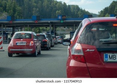 Macelj, Gruskovje - Border Slovenia and Croatia, July 9 2018: Cars, buses and trucks waiting to cross from Croatia to Slovenia in summer. Due Schengen regime controls on Slovene side are stricter.