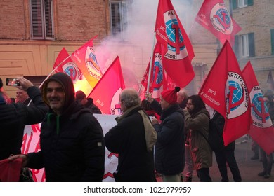 In Macerata, in the centre of Italy, 20.000 people arrived for a march against fascism after the the shooting against African people. The bloc of communist party. Macerata (I)