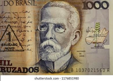 Machado de Assis portrait as a bust old one thousand cruzados note Brazilian money. Front side. 1000.